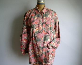Floral Print Safari Gap Cotton Woman's Jacket 80's