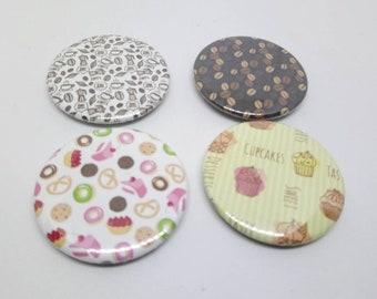 Set of 4 magnets 37mm decorative