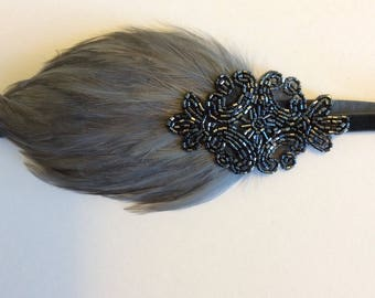 Gatsby Headband, gray 1920s Headpiece, graphite feather headband, art deco fascinator Flapper dress, black feather, gunmetal pewter