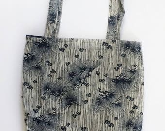 Navy Patterned Tote Bag-Navy Tote Bag-Cotton Tote Bag-Navy and White Tote Bag-Dandelion Tote Bag-Unique Tote Bag-Tote Bag-Navy Book Bag