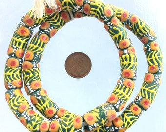 Oliven Yellow with orange red eye design African Krobo Recycled Glass Trade Beads (24PCS)