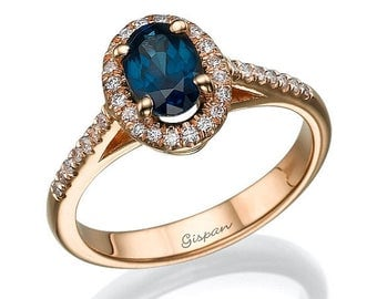 Blue saphire ring Engagement ring Rose gold engagement ring gem ring gemstone ring Vintage Engagement Ring Sapphire ring Oval ring