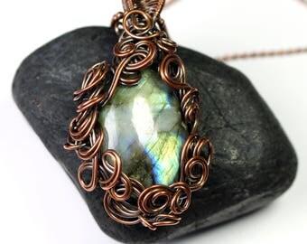 Labradorite Crazy Swirls Pendant - Wire Wrapped Necklace - Made in Alaska - Alaska Art