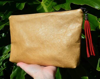 Leather Clutch Purse. Pouch. Repurposed Leather.