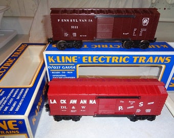 K-Line Pennsylvania & Lackawanna boxcars,like new in the boxes,Lionel compatible