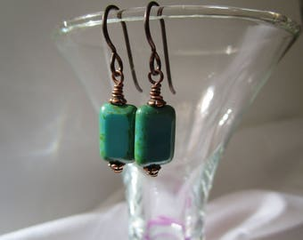 Classic Opaque *Sale* Turquoise Czech Glass Earrings Lightweight Picasso Glass Earrings Yoga Earrings Hypoallergenic Niobium French Hooks