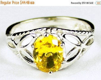 On Sale, 30% Off, Golden Yellow CZ, 925 Sterling Silver Ring, SR137