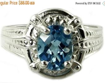 On Sale, 30% Off, Swiss Blue Topaz, Sterling Silver Ring, SR284
