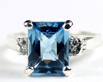 On Sale, 30% Off, Swiss Blue Topaz , 925 Sterling Silver Ring, SR221