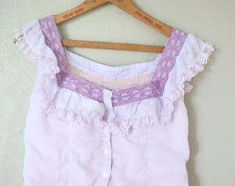 Vintage lilac purple lace peasant crop halter button up top