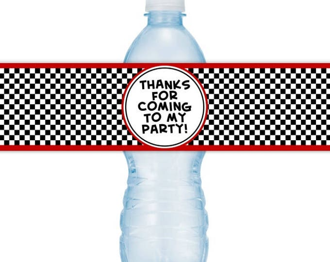 Race Car Water Bottle Labels, Racing Birthday Party Water Bottle Labels, INSTANT DOWNLOAD - you print, you cut, DIY water bottle labels
