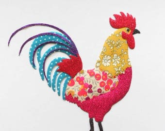 Large applied fusible crowing! the Gallic rooster!