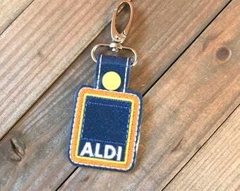 Aldi Quarter Holder, Aldi Keychain, Aldi Key Chain, Aldi Quarter Keeper, Snap Tab, Key Fob, Aldi Quarter Saver---70 Colors