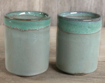 Japanese Ceramics, Handmade Ceramics, Ceramic Cup, Celadon, Green, Yunomi, Tea Cup, Set of 2 Cups, Tea Ceremony, Made In Japan.