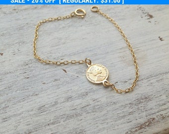 SALE coin bracelet,gold bracelet,tiny coin,simple everyday bracelet,coin charm bracelet,delicate bracelet, gold coin bracelet, A508