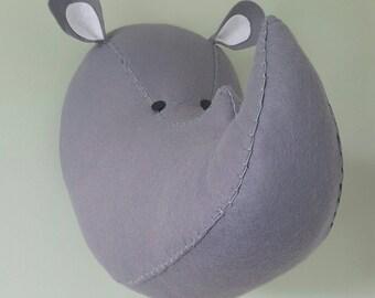 RUFUS RHINO - Faux Taxidermy Felt Wall Mounted Animal Head