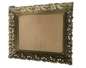 """Gold and White  Metal Picture Frame Vintage Hollywood Regency, Ornate Gold Tone Metal Picture Frame, 12.5"""" x 10.5"""""""