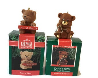 """Pair of Vintage Hallmark Teddy Bear Ornaments in Original Box, Notes of Cheer from 1991 and Bear I Tone Sculpted b Bob Sidler 1989 2"""" Tall"""