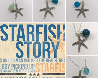 Silver Starfish Necklace, Teacher gifts, It matters to this one, Starfish Story Jewelry, Genuine Sea glass Beach Jewelry, Adoption gifts