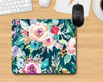 Water Color Mouse Pad. Personalized Mouse Pad. Monogram Mouse Pad. Office Gifts. Teacher Gifts. Promotional Items.Floral Mouse Pad.