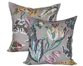 READY TO SHIP - Pair of 20x20 Fiori Gray designer pillow covers