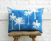 Indigo Pillow Katazome palm tree print denim blue white Arashi Shibori linen cushion 50 x 70 cm 20x28 inches