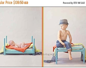 SUMMER SALE Newborn Baby Photography Prop Wooden Flipping Bed to Bench