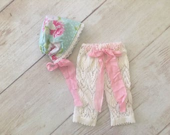 Newborn Baby Girl Upcycled Pants and Bonnet Photography Prop