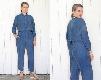 Vintage 80s Jumpsuit | 80s Chambray Silk Long Sleeve Jumpsuit | Small S Medium M