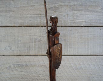 Vintage Carved Wood Knight ~ Wooden Carving Gaurd with Spear and Shield Armor ~ Medieval Decor Man Figurine Statue