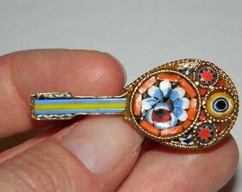 Vintage Hand Made Italian Micro-Mosaic Mandolin Brooch