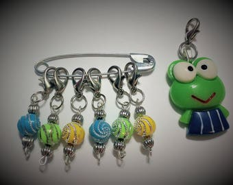 crochet Stitch Markers-  beaded Stitch Markers - progress keepers - set of 6