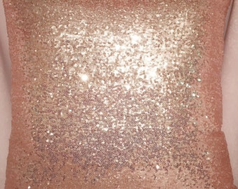 "Rose Gold Sequins 20x20 Pillow  ""COVERS"" only with zipper closure"