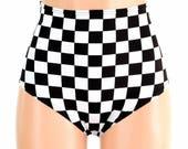 "High Waist ""Siren"" Hot Pants in Black and White Checkered Print Winners Flag Spandex UV GLOW Rave Festival Clubwear - 154656"