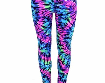 Kids UV Glow Purple & Turquoise Tie Dye Leggings Hippie 70's Childrens and Girls Sizes 2T 3T 4T and 5-12 - 154729