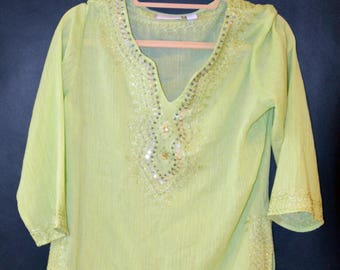 Vintage Granny Smith Apple Sequin Sheer Blouse
