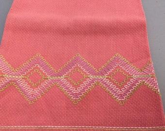 1950s Vintage Swedish Weave Pink Huck Toweling Hand Towel, Dark Pink Embroidered Tea Towel w/ Lime Green, Light Pink, Purple