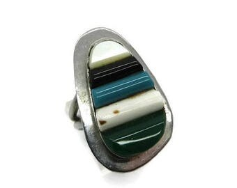 ON SALE! Navajo Turquoise MOP Onyx Ring Vintage Sterling Silver Multi-Gemstone Native American Ring Size 6