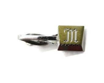 Vintage Initial M Tie Clip, Hickok U.S.A. Tie Bar, Monogrammed Tie Clasp, Two Tone Tie Clip, Suit Accessory, Gift for Him