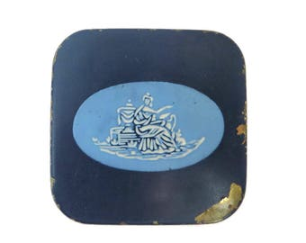 Dorothy Gray Compact, 1940s Square Blue Makeup Compact, Vintage Collectible Mirror Compact