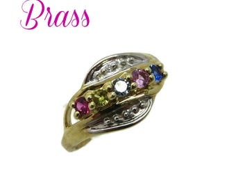 Brass - Five Stone Brass Ring, Vintage Multistone Two Tone Ring, Pastel Stones Ring, Size 7, FREE SHIPPING
