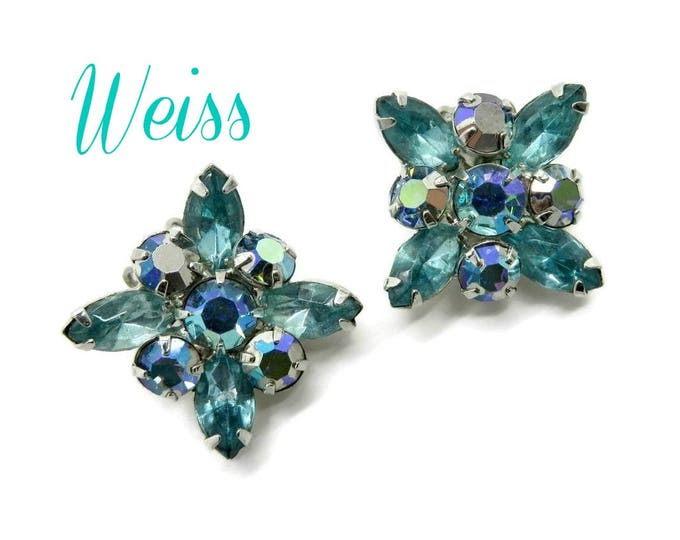 Weiss AB Rhinestone Earrings, Sea Green Rhinestone Silver Tone Clip-ons Signed Weiss Bridal Jewelry, FREE SHIPPING