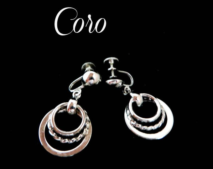 Coro Hoop Earrings, Vintage Dangling Silver Tone Triple Hoop Screwback Earrings Signed Coro Jewelry