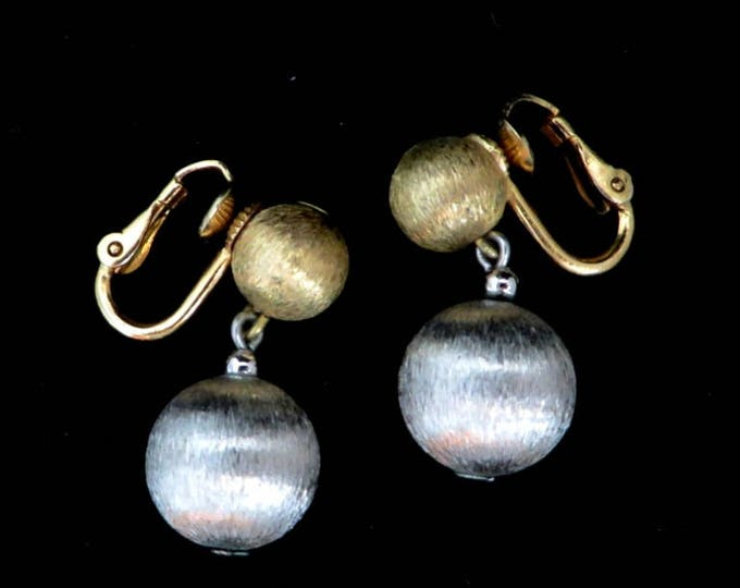 Napier Earrings, Vintage Two Tone Dangling Ball Earrings, Gold Tone, Silver Tone Clip-ons