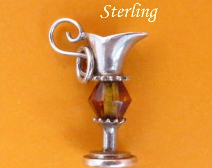Sterling Silver Carafe Charm, Vintage Sterling and Crystal Pendant, Starter Charm, Gift Idea