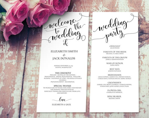 Wedding Program INSTANT DOWNLOAD