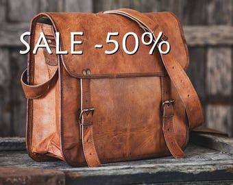 "SALE / Goat Leather Messenger Bag 14"" / Briefcase / Cross Body Bag / Handbag / Satchel / iPad / Hip Bag / Shoulder Bag"