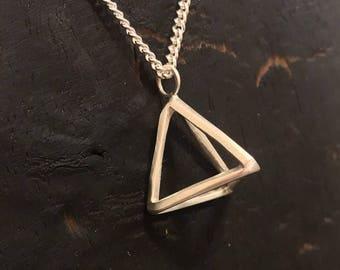 Sterling Silver 3D Freeform Pyramid Pendant