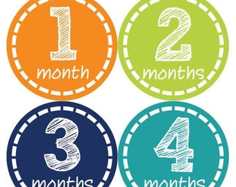 Monthly Baby Milestone Stickers Baby Boy Baby Shower Gift One-Piece Baby Stickers Monthly Baby Stickers Baby Month Sticker 307
