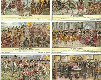 The SCOTTISH CLANS Set of 6 cards 1961 Scot Scotland Families - Liebig Trade Cards Vintage Flemish Dutch Litho Lithography Card  Lg528